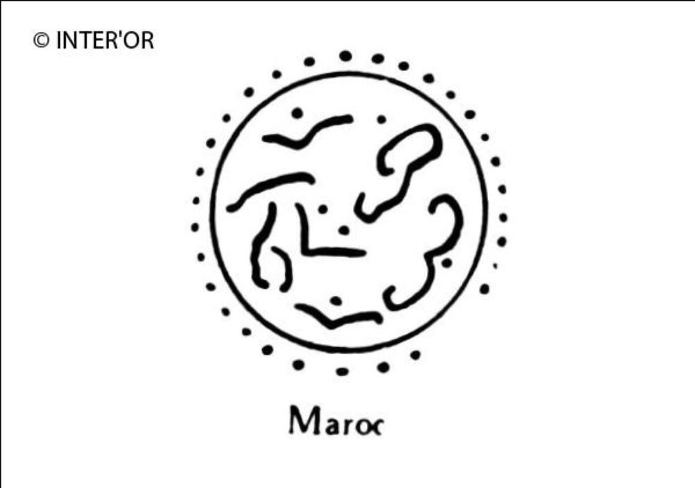 Caracteres arabes dans un cercle pointille