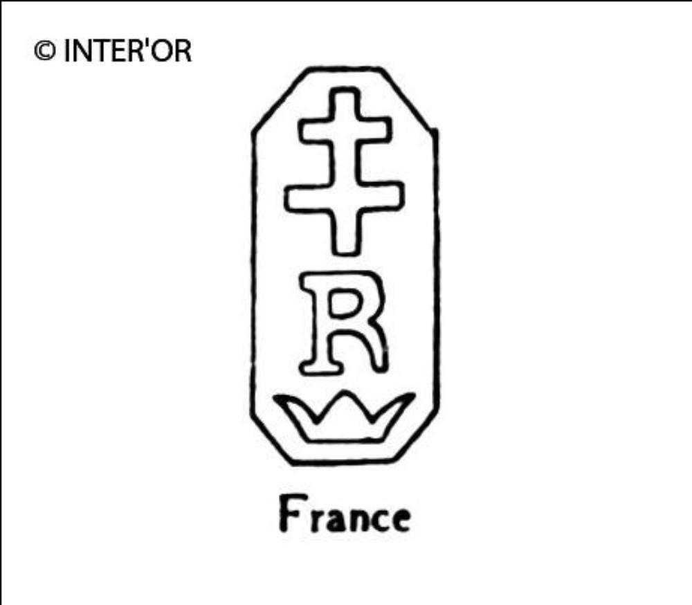 Croix de lorraine sur r et couronne