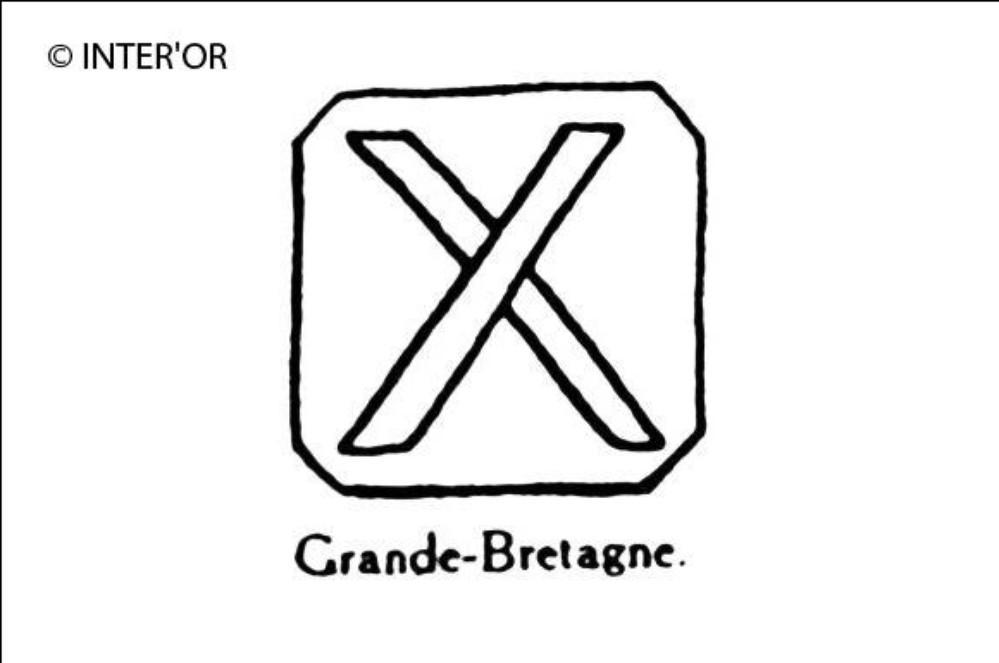 Croix de saint-andre dans un carre a pans coupes