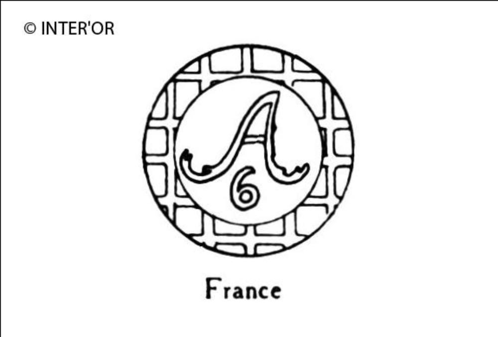 Lettre a dans un cercle chiffre 6 en-dessous