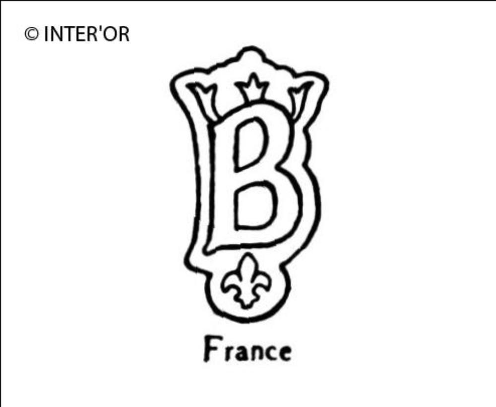 Lettre b couronnee sur fleur de lys