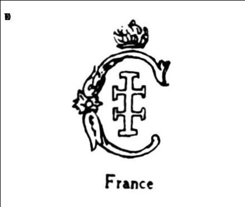 Lettre c couronnee avec croix de lorraine
