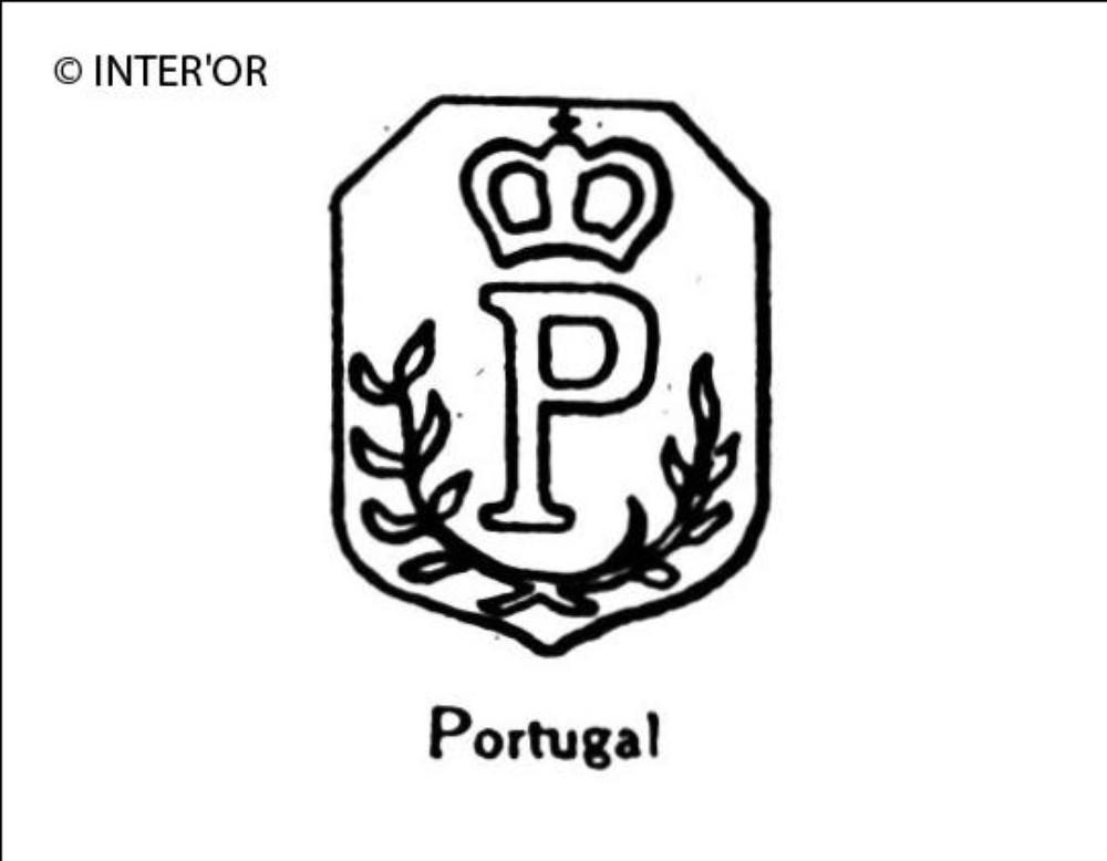 Lettre p couronnee 2 rameaux
