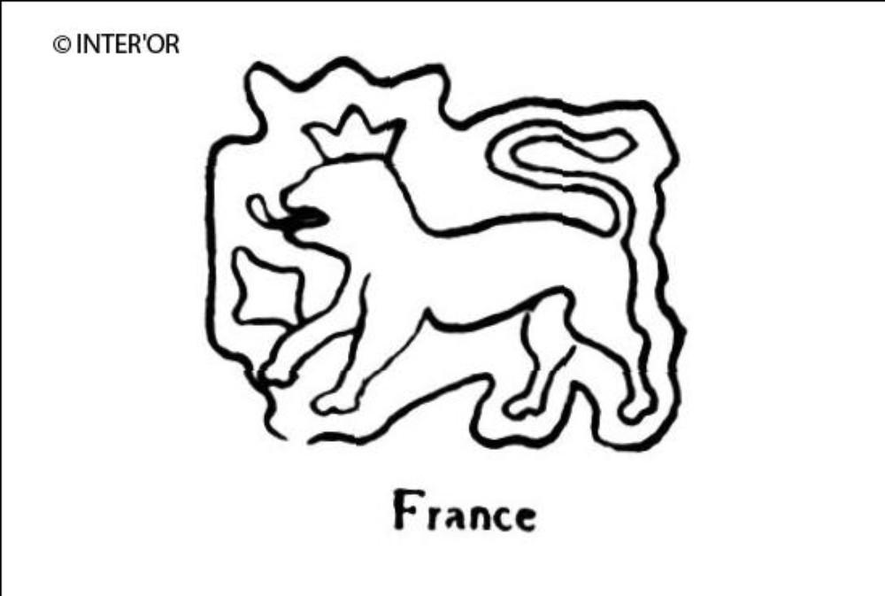 Lion couronne patte levee