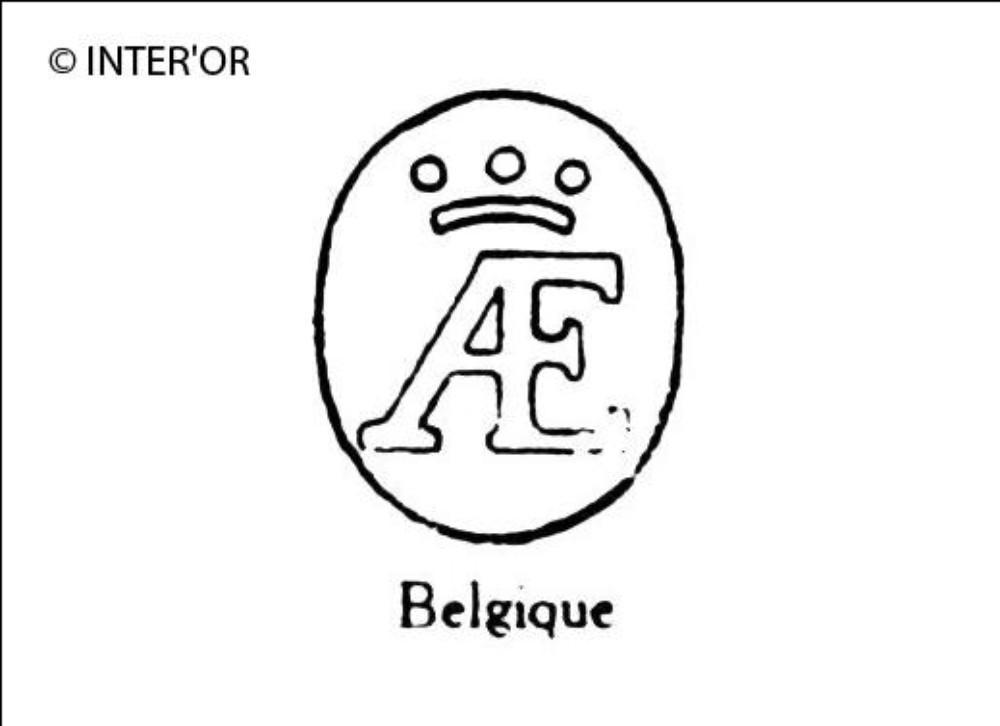 Monogramme a e surmonte d'une couronne a trois perles