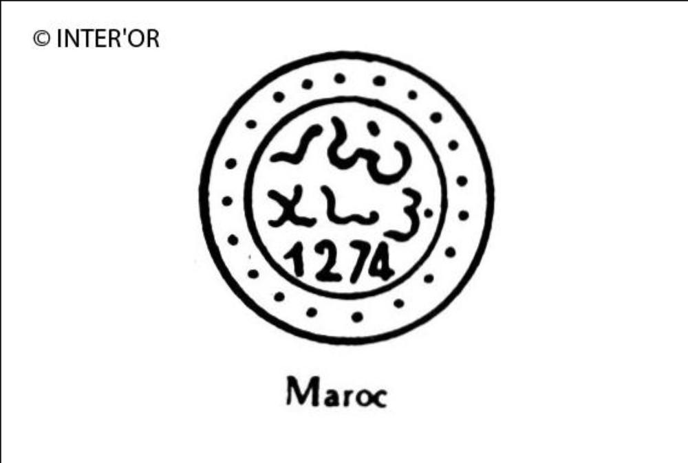 Nombre 1274 et caracteres arabes dans une double circonference