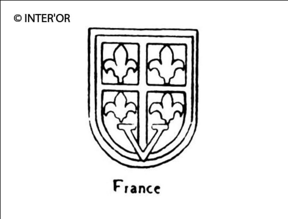 Quatre fleurs de lys dans un ecusson lettre v