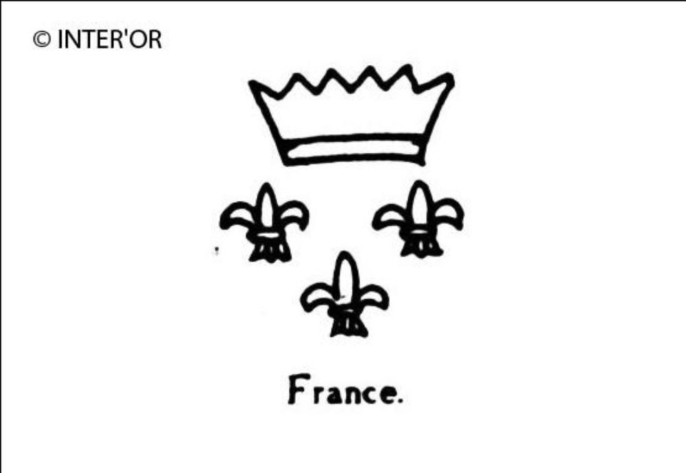 Trois fleurs de lys et une couronne
